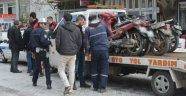 Polise kızdı motorunu yaktı